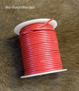Lederband / Lederriemen rund rot 25 m - Bild vergrößern