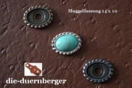 2) Muggel-FASSUNG oval klein silber Zierniete - Bild vergrößern
