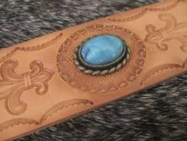 a) Muggelstein blautürkis oval Zierniete - Bild vergrößern