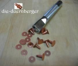 Kupferniete (Vollkupfer) mit Scheibe #9 1in - Bild vergrößern
