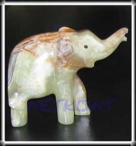 Elefant aus Onyx Marmor, Stein, Tier Figur ca. 12,5cm, Unikat - Bild vergrößern
