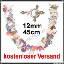 Splitterkette Multicolor 45cm, Verschluss aus 925er Silber - Bild vergrößern