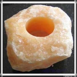 Teelichthalter Orangencalcit, Brocken, Rohstein - Bild vergrößern
