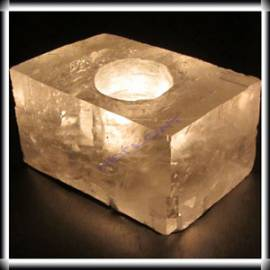 Teelichthalter Optischer Calcit Teelicht kristallklar, ca. 1 Kg - Bild vergrößern