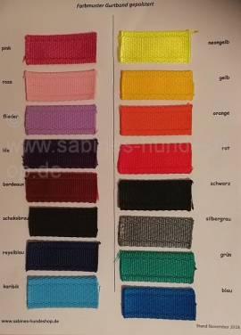Farbmusterkarte Gurtband gepolstert NEU!!! - Bild vergrößern