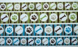 Webband doggy stripes grün - Bild vergrößern