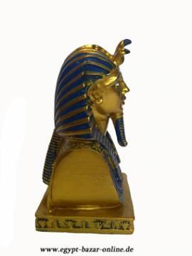 Büste Pharao Tutanchamun Gold x Blau - Bild vergrößern