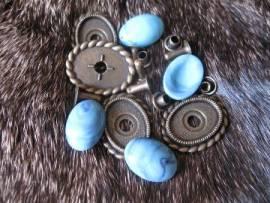 1) Muggel-FASSUNG oval altmessing Zierniete