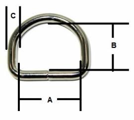 D-Ring geschweisst vernickelt 18x14x2,8 mm 14-4004 - Bild vergrößern
