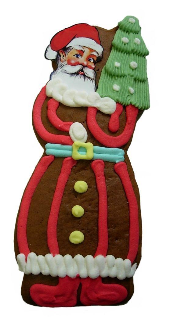 Lebkuchen Weihnachtsmann,Nikolaus mit Tannenbaum 40 Stück im Karton