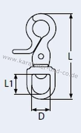 Scherenkarabinerhaken Edelstahl Rostfrei V4A 65x13 16-1040