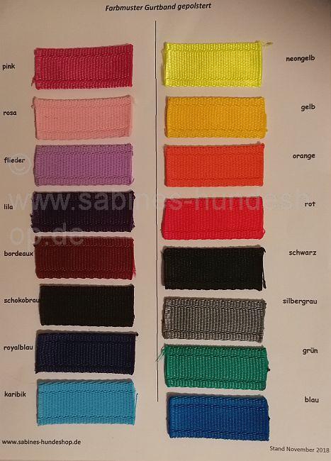 Farbmusterkarte Gurtband gepolstert